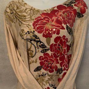Rebecca Malone Size 1X Beige w/ Floral Design
